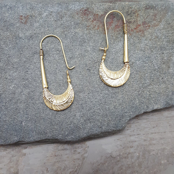 Hammered Feather Earrings