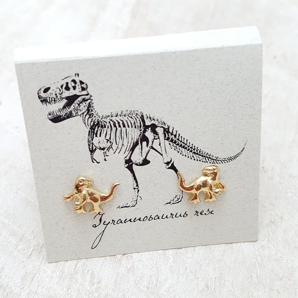 Front of Gold T-Rex Earring Card