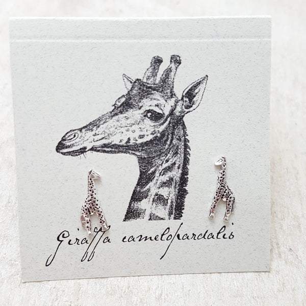 Front of Silver Giraffe Earring Card