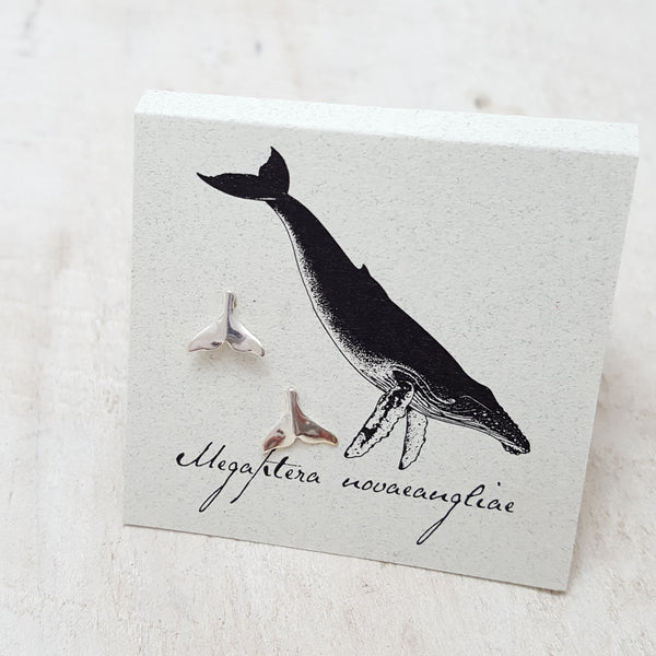 Front of Silver Whale Tail Earring Card