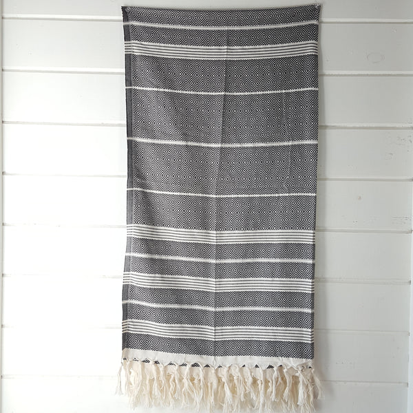 Basic Diamond Turkish Towel in Black