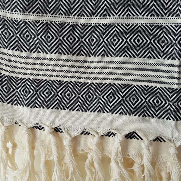 Close up of Basic Diamond Turkish Towel in Black