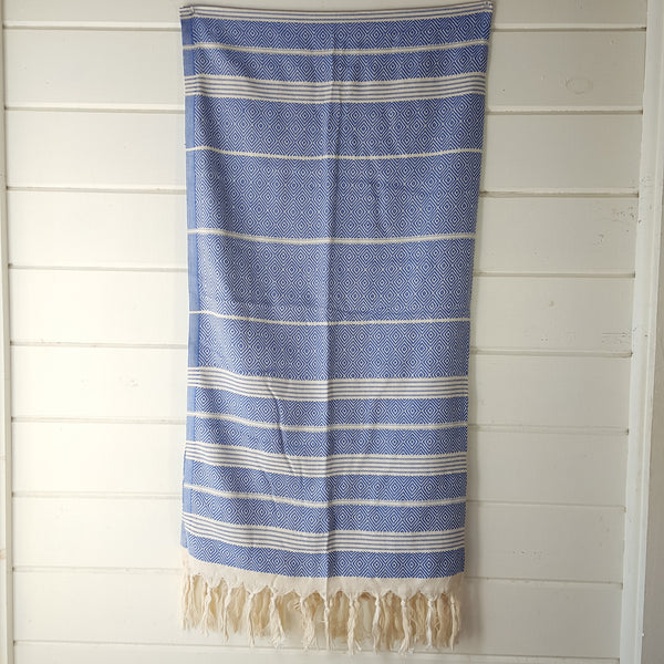 Basic Diamond Turkish Towel in Blue