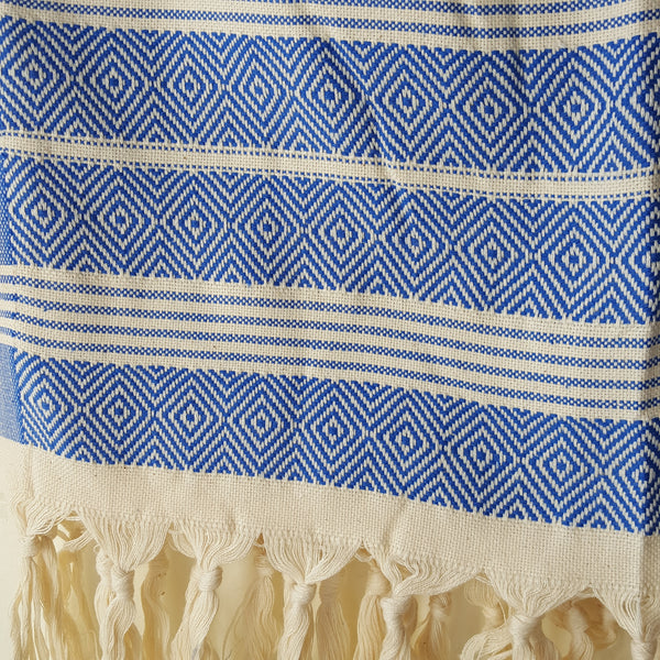 Close up of Basic Diamond Turkish Towel in Blue