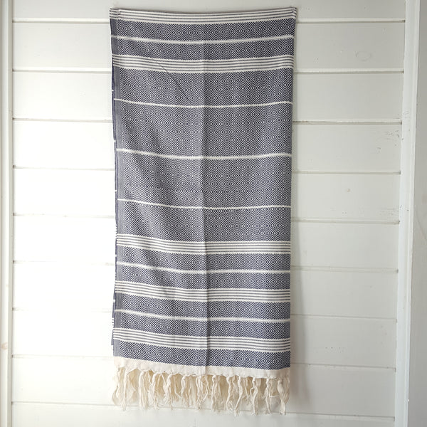 Basic Diamond Turkish Towel in Navy