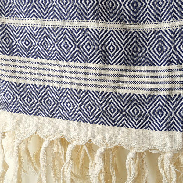 Close up of Basic Diamond Turkish Towel in Navy