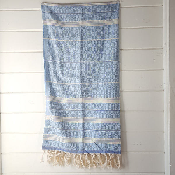 Basic Diamond Turkish Towel in Light Blue with Blue