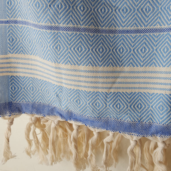 Close up of Basic Diamond Turkish Towel in Light Blue with Blue