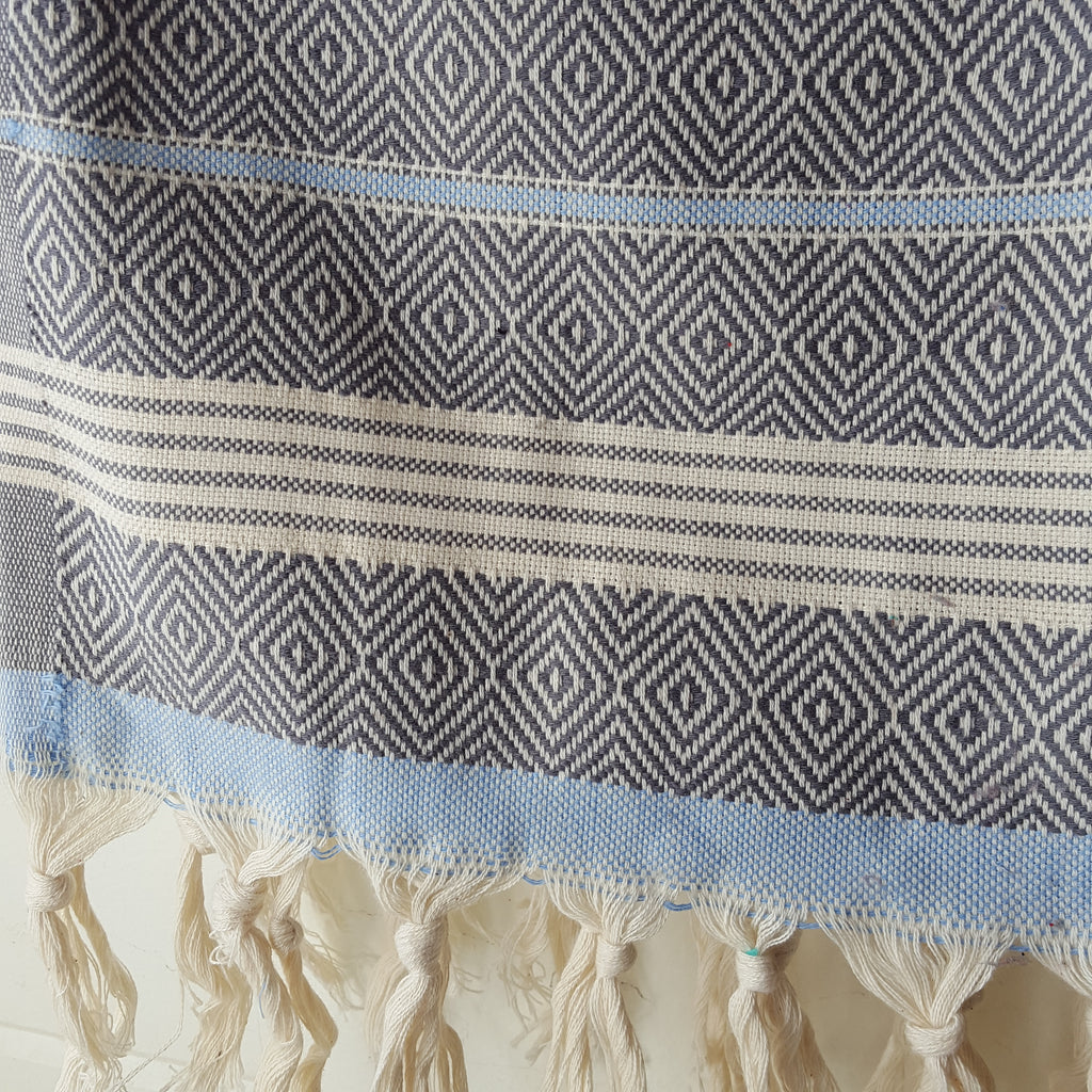 Close up of Basic Diamond Turkish Towel in Grey with Light Blue