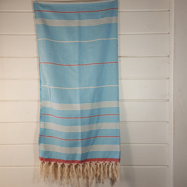 Basic Diamond Turkish Towel in Turquoise with Red