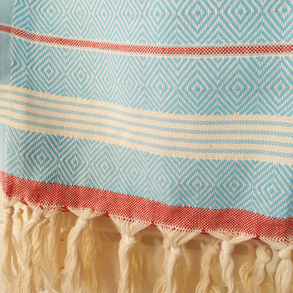 Close up of Basic Diamond Turkish Towel in Turquoise with Red