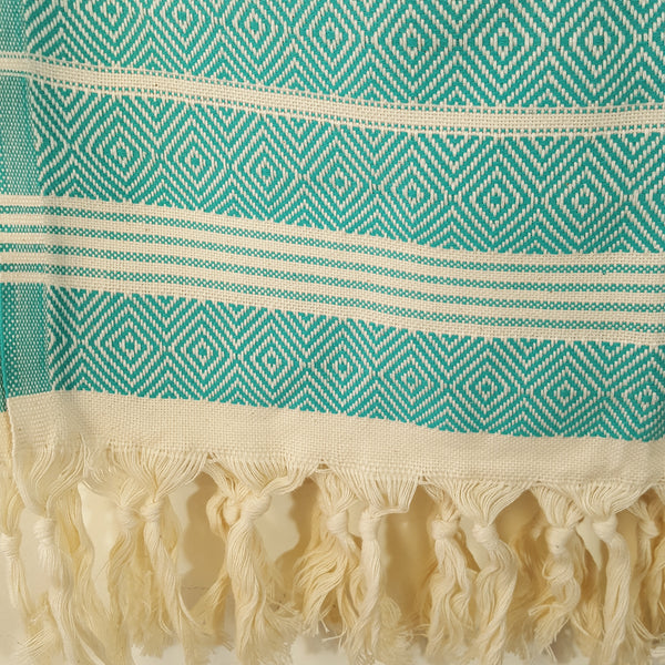 Close up of Basic Diamond Turkish Towel in Mint