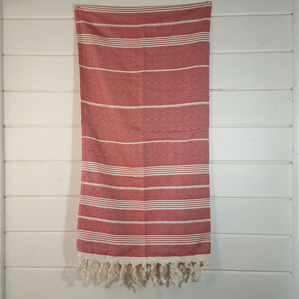 Basic Diamond Turkish Towel in Red