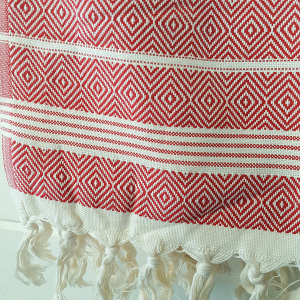 Close up of Basic Diamond Turkish Towel in Red