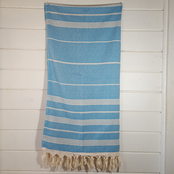 Basic Diamond Turkish Towel in Turquoise