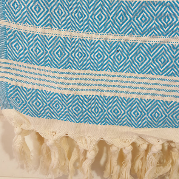 Close up of Basic Diamond Turkish Towel in Turquoise