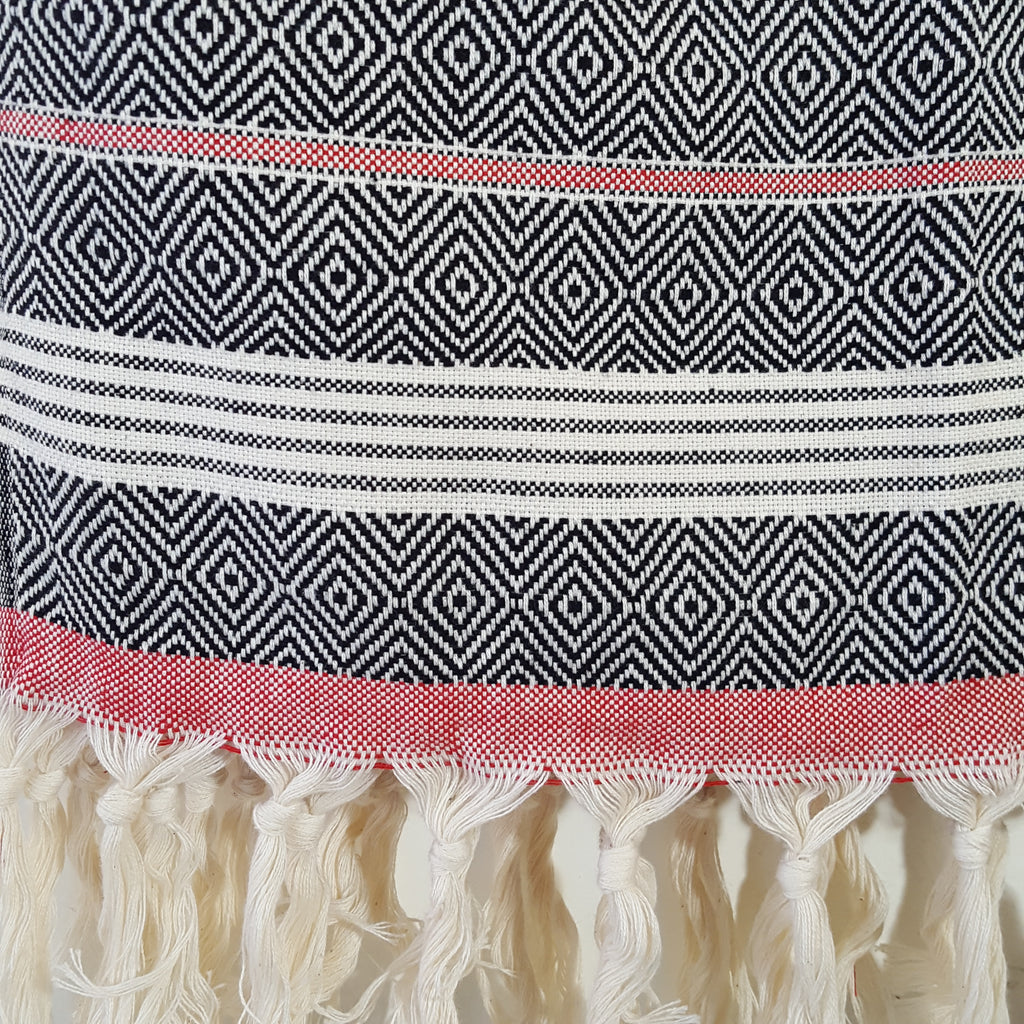 Close up of Basic Diamond Turkish Towel in Black with Red