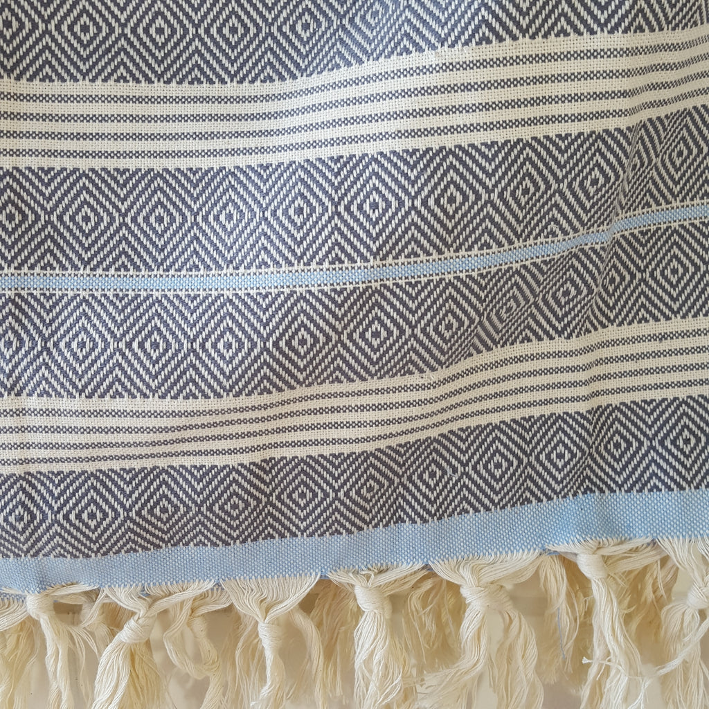 Detail of Basic Diamond Throw in Grey with Light Blue