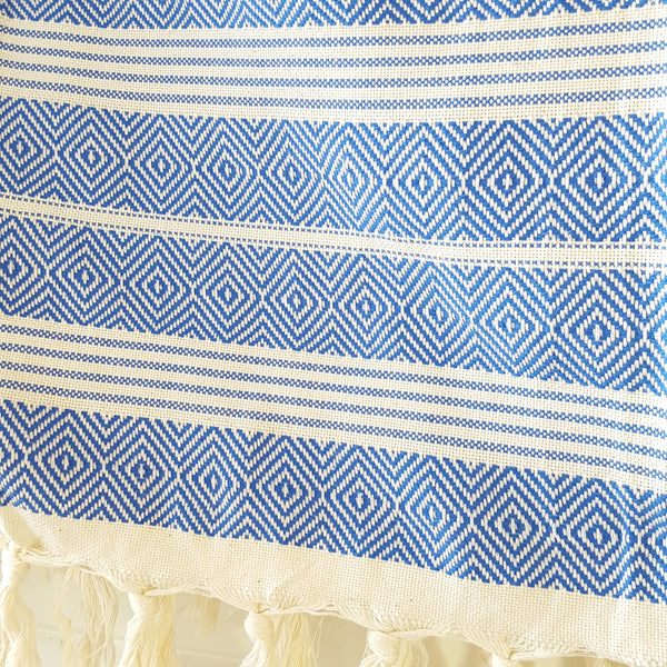Detail of Basic Diamond Throw in Blue