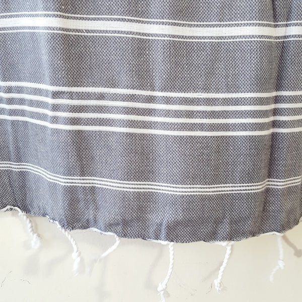 Close up of Sultan Hand Towel in Grey