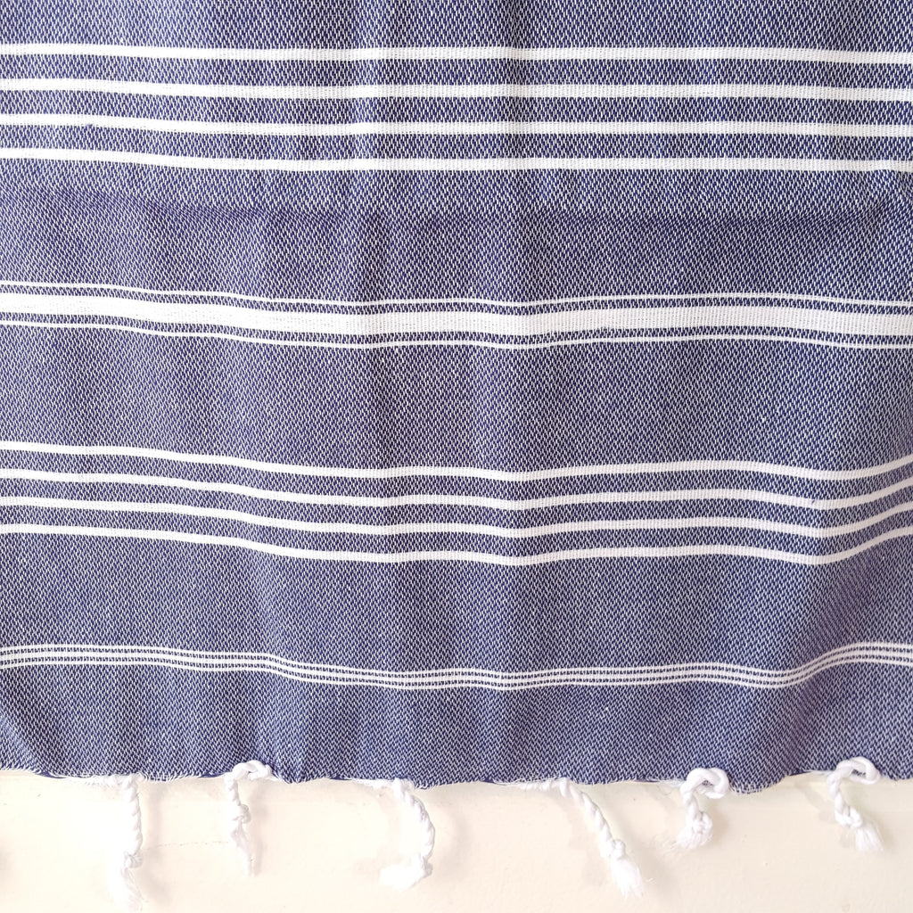 Close up of Sultan Hand Towel in Navy