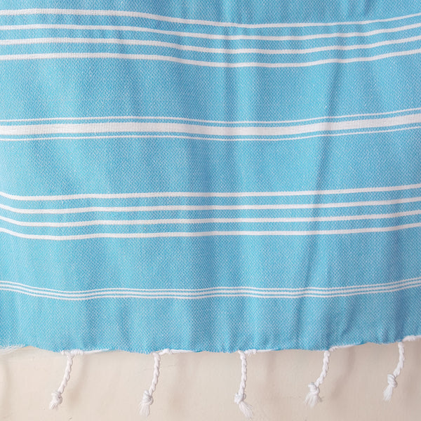 Close up of Sultan Hand Towel in Turquoise