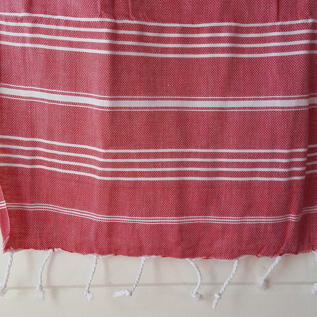 Close up of Sultan Hand Towel in Red