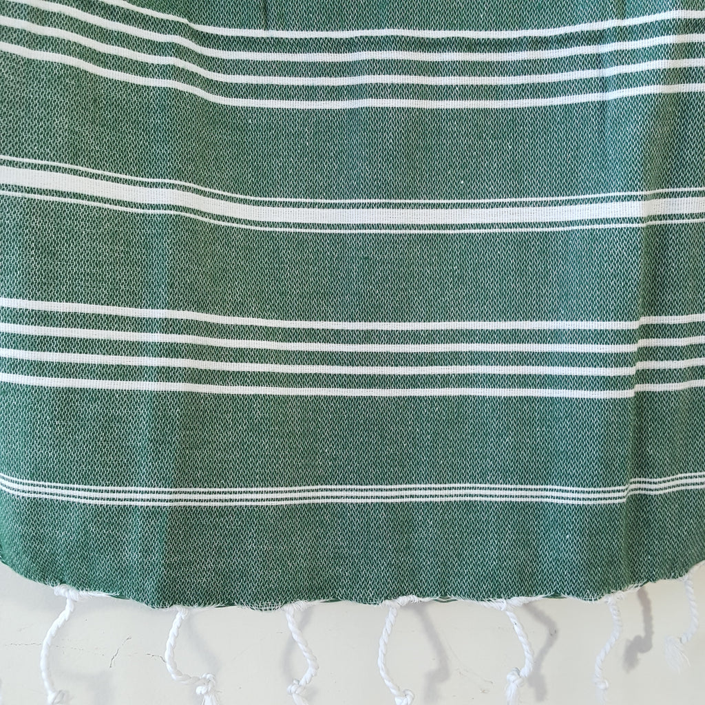 Close up of Sultan Hand Towel in Dark Green