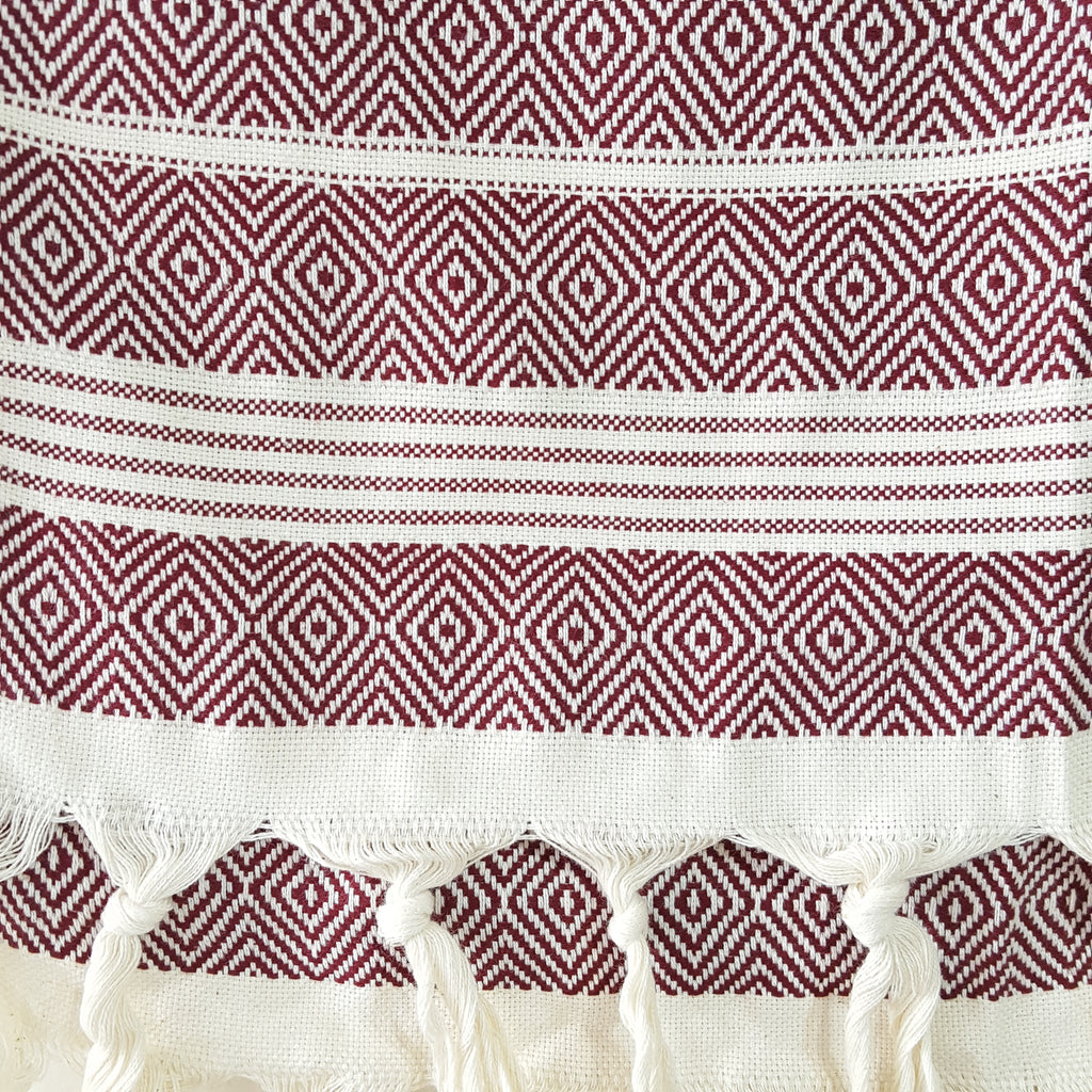 Close up of Basic Diamond Turkish Towel in Burgundy