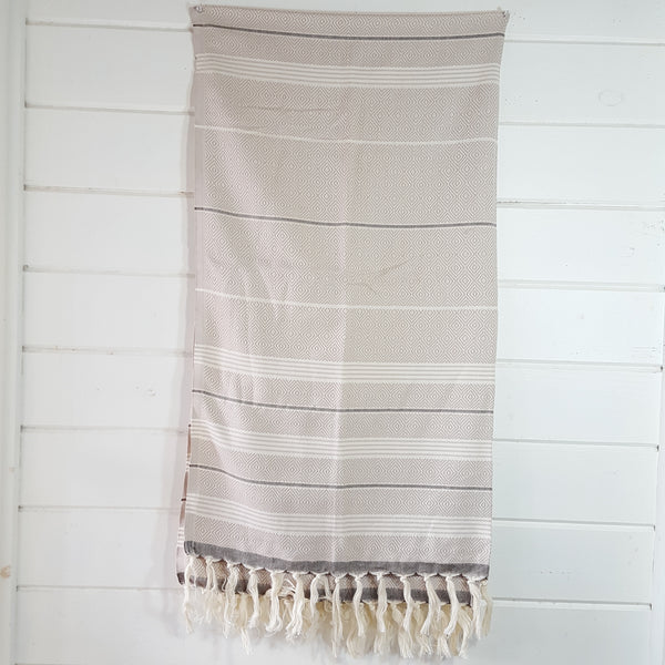 Basic Diamond Turkish Towel in Beige with Brown