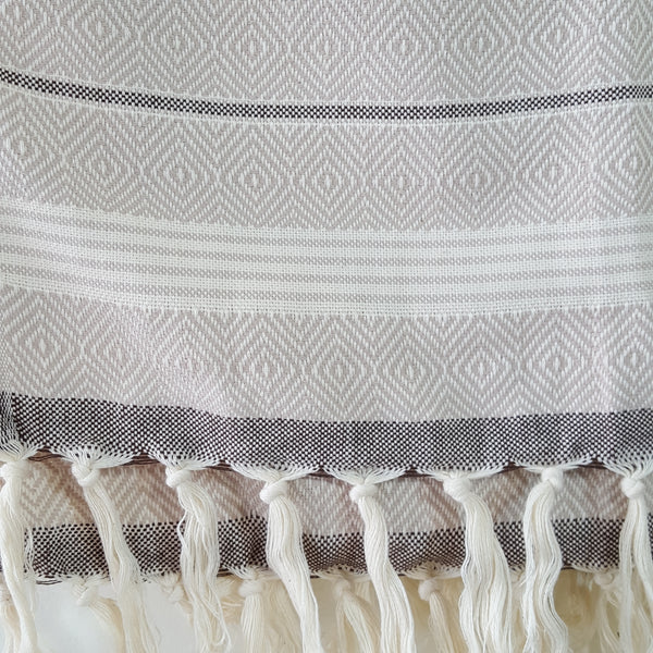 Basic Diamond Turkish Towel in Beige with Brown close up