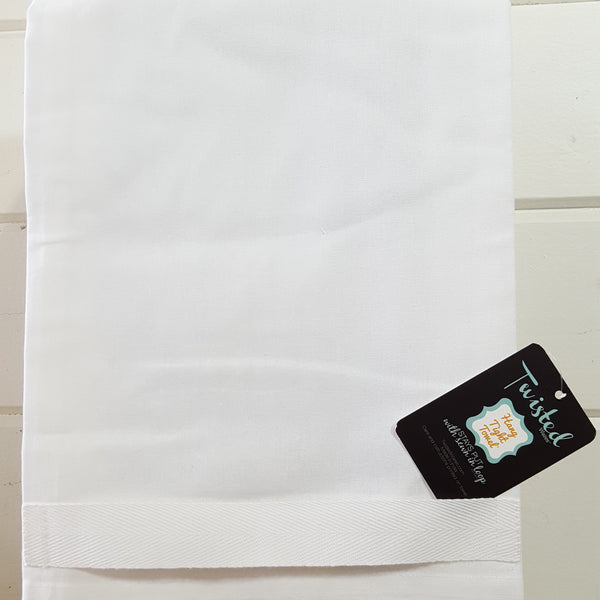 back of twisted towel with hang tight loop
