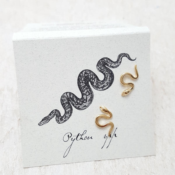 Front of Gold Small Snake Earring Card