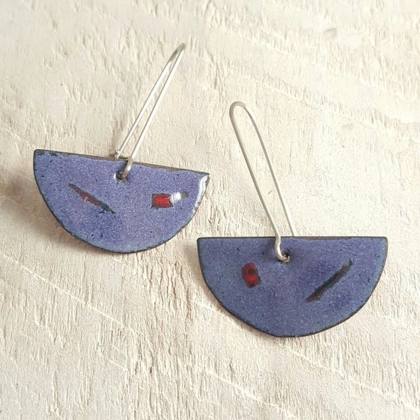 Purple enameled copper earrings with red and blue accents.
