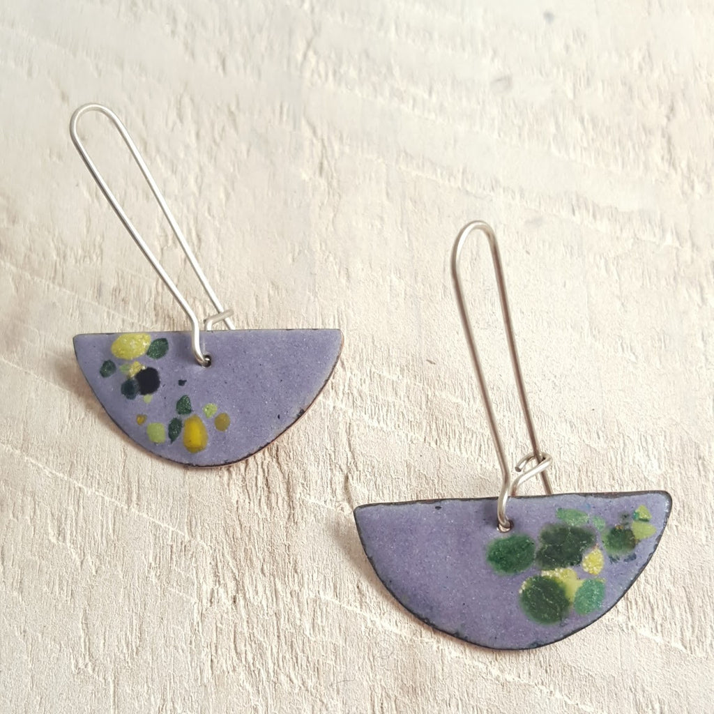 Light purple enameled copper earrings with green accents.