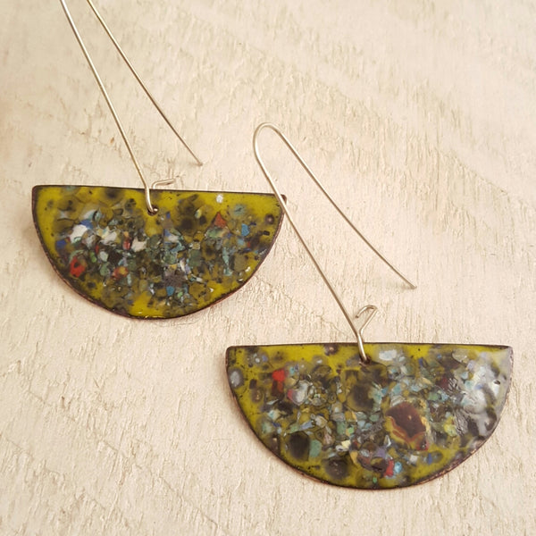 Lime green enameled copper earrings with speckled accents.