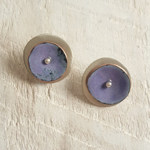 Light purple enameled copper studs.