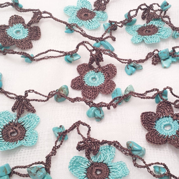 Brown and aqua flowers.