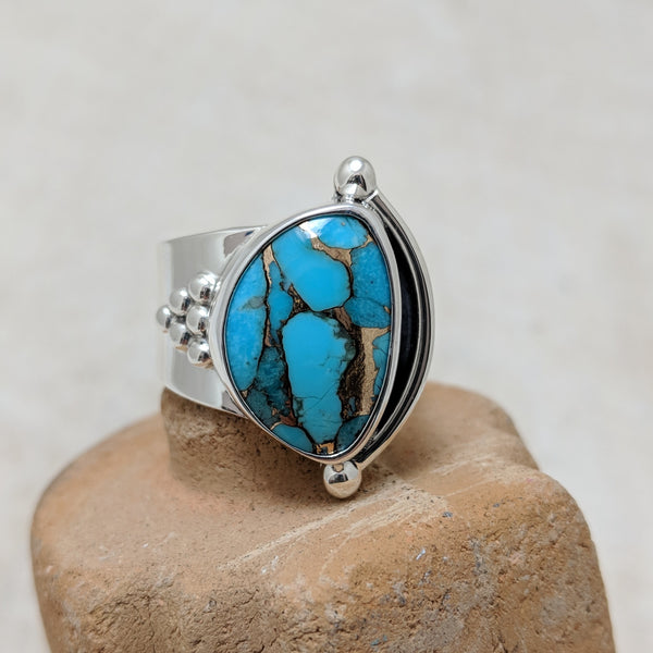 granulation ring in turquoise with bronze front view