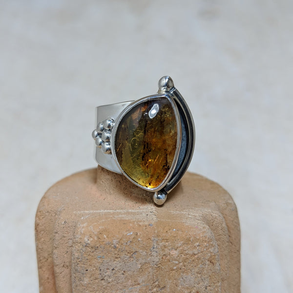 granulation ring in amber front view