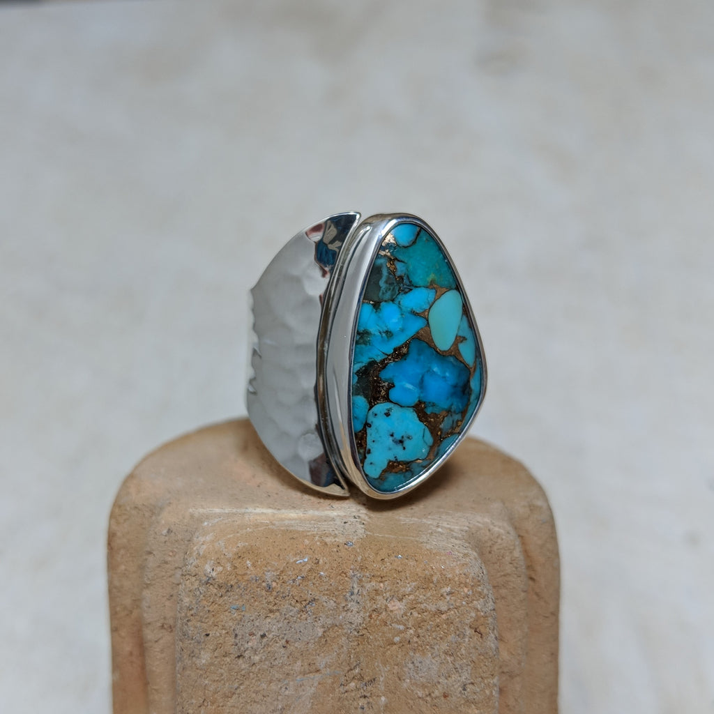Turquoise with Bronze ring front