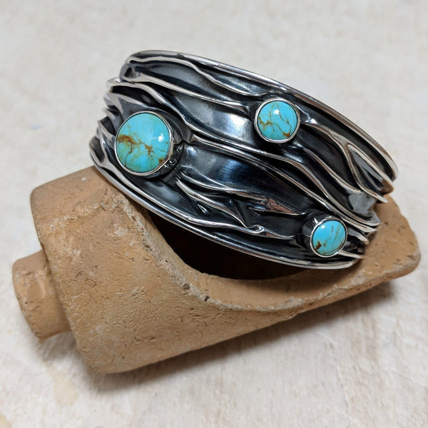 Wide Squashed Cuff with Turquoise front.
