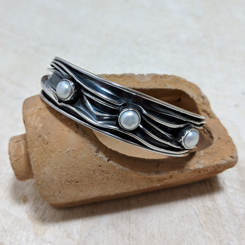 Thin Squashed Cuff with Pearls front