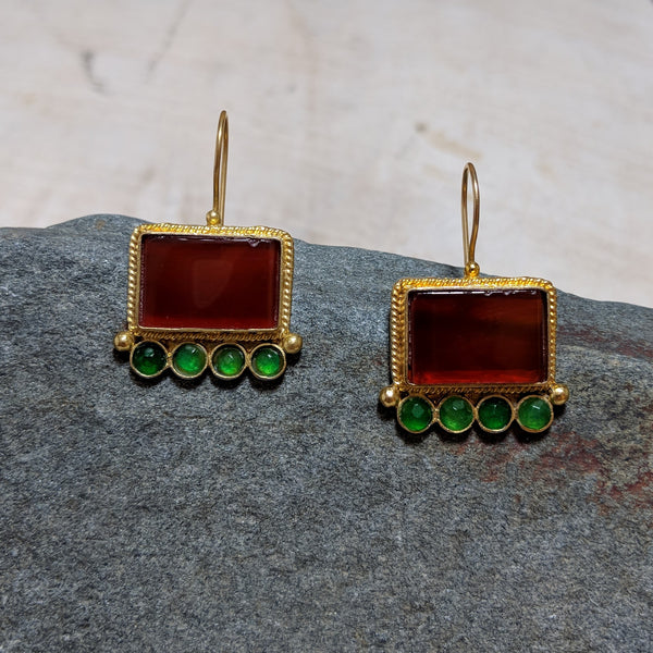 Picture Frame earrings from view in red and green
