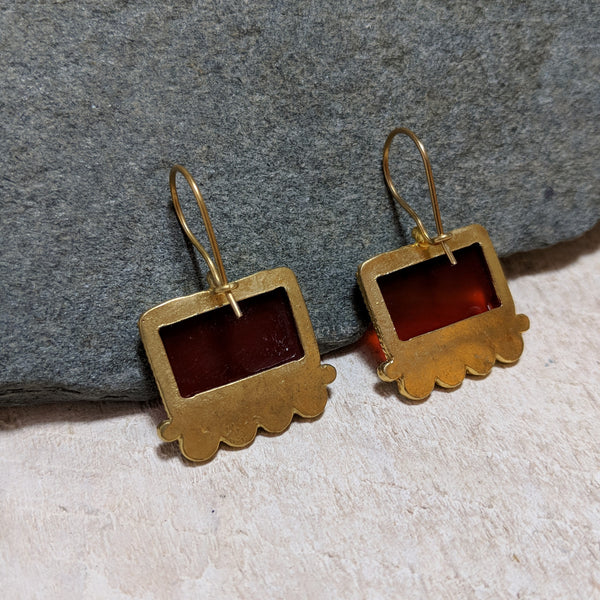 back view of red picture frame earrings