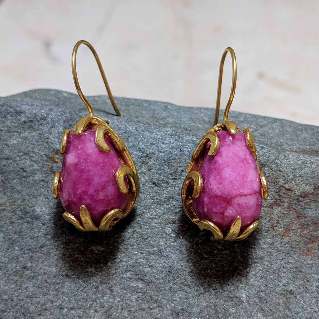 Droplet Earrings in Pink