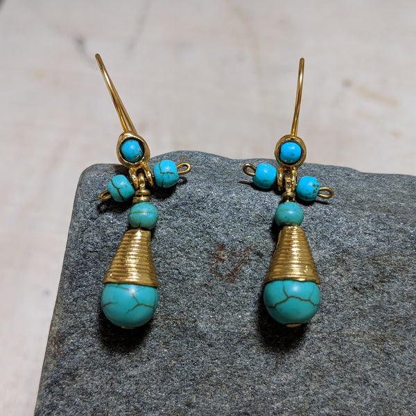princess earrings in turquoise