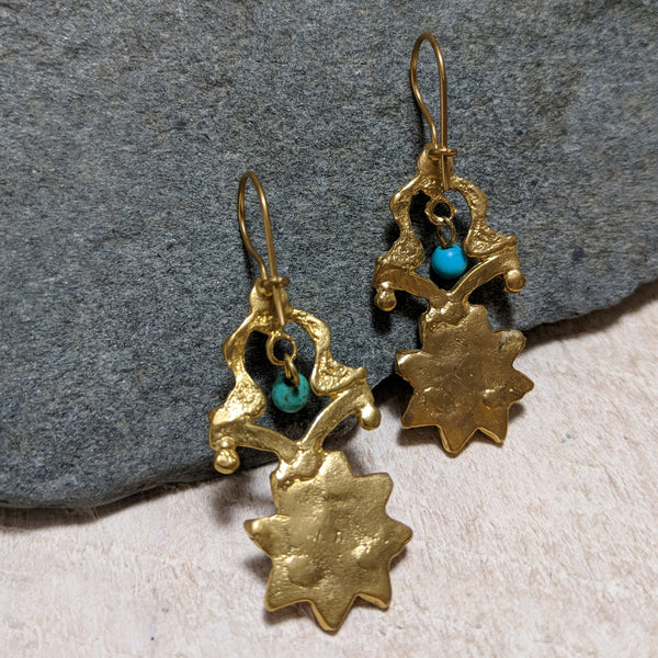 back of turquoise sun fortress earrings