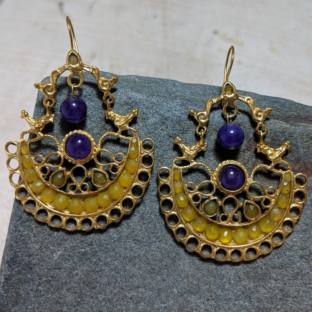 Birdhouse earrings in purple and yellow
