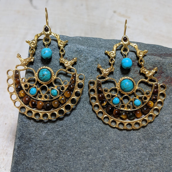 Birdhouse earrings in turquoise and tiger's eye